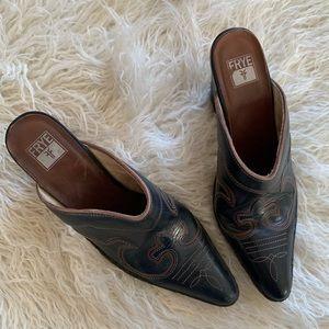 Frye Western Mule Slip On Heel Shoes Size 9M